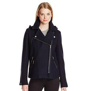 Levis assymetric navy blue zip wool coat